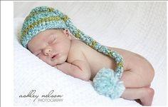 Newborn Striped Elf Hat with Pom in Shades by SkyeKnitsforBabies, $15.95