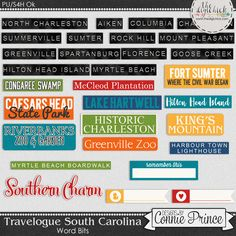 Travelogue South Carolina - Word Bits by Connie Prince. Includes 30 word bits. Words include: Fort Sumter, Congaree Swamp, Hilton Head Island, McCleod Plantation, Lake Hartwell, Caesars Head, Historic Charleston, Riverbanks Zoo & Garden, Greenville Zoo, King's Mountain, Columbia, Charleston, North Charleston, Mount Pleasant, Rock Hill, Greenville, Summerville, Sumter, Hilton Head Island, Spartanburg, Florence, Goose Creek, Aiken, Myrtle Beach, Myrtle Beach Boardwalk, Harbour Town Lighthouse…