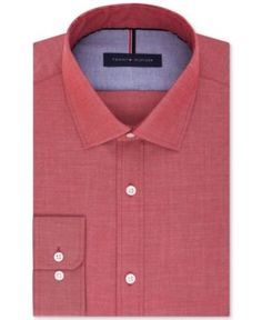 Tommy Hilfiger Men's Slim-Fit Non-Iron Soft Wash Solid Dress Shirt - Red 15.5 32/33