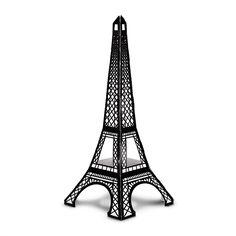 "Black & White cardboard Eiffel tower, 13.5"" high"