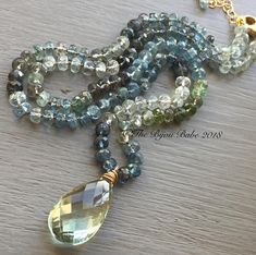 Moss aquamarine Necklace hand knotted silk necklace by thebijoubabe