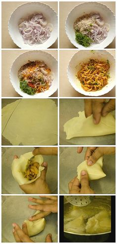 Samosa Recipe (How to make perfect crisp Onion Samosa) - Savory Bites Recipes Indian Snacks, Indian Food Recipes, Gourmet Recipes, Snack Recipes, Cooking Recipes, African Recipes, Kitchen Recipes, Yummy Snacks, Delicious Food