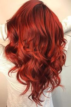 24 Seductive Shades Of Red Hair For Any Complexion And Eye Color Saturated Ruby Red Hair Color ❤️ Discover the red hair color chart! Strawberry blonde, copper, dark auburn and lots of colors are waiting for you. These ombre an Ruby Red Hair Color, Hair Color 2018, Shades Of Red Hair, New Hair Colors, Cool Hair Color, Teal Hair, Vibrant Red Hair, Red Orange Hair, Red Ombre Hair