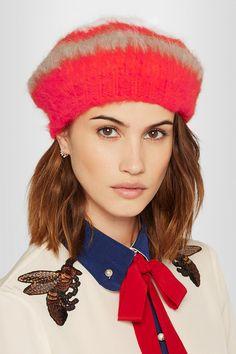 GUCCI Striped angora-blend beret