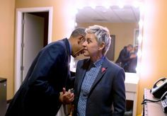 President Barack Obama talks with Ellen DeGeneres backstage following a taping of The Ellen DeGeneres Show at Warner Brothers Studios in Burbank, Calif., Feb. 11, 2016. (Official White House Photo by Pete Souza)