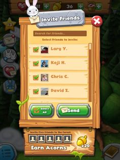 Forest Home | Facebook Friend Invites| UI, HUD, User Interface, Game Art, GUI, iOS, Apps, Games, Grahic Desgin, Puzzle Game, Maze Games, Brain Games | www.girlvsgui.com