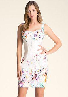 bebe Print Sweetheart Dress