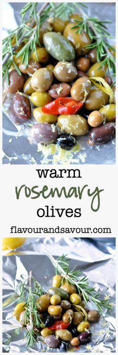 These Warm Rosemary Olives with Lemon are olives with attitude. Warming intensifies their flavour and makes a tasty addition to an antipasti platter. Vegan Appetizers, Holiday Appetizers, Appetizer Recipes, Holiday Recipes, Healthy Side Dishes, Healthy Snacks, Healthy Eating, Healthy Recipes, Olive Recipes