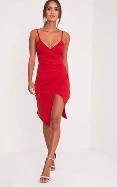 Lauriell Red Wrap Front Crepe Midi Dress Image 1 Simple Red Dress d2e0a822abbf