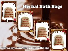 Bath and Beauty, Bath Set, Chocolate Bath Bags, 4 Herbal Bath Bags, Home Spa, Relaxation, Herbal Gift Set by HerbalBaths on Etsy