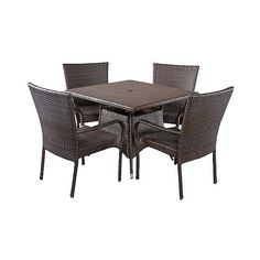 Patio Dining Set: Christopher Knight Home Wesley 5-piece Wicker Patio... ($640) ❤ liked on Polyvore featuring home, outdoors, patio furniture, outdoor patio sets, brown, outdoor wicker patio furniture, wicker patio furniture, outdoor wicker furniture and outdoor garden furniture