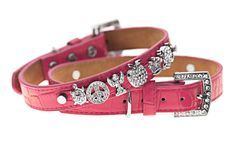Happy Pink Collar beautiful leather dog jewelry shop online now