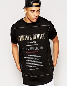 Criminal Damage Oversized T-Shirt With Wash Care Print
