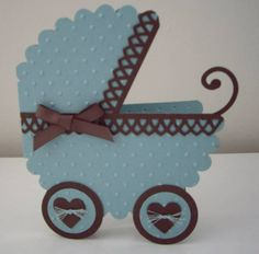 Baby buggy by laurie thompson - cards and paper crafts at splitcoaststampers Distintivos Baby Shower, Baby Shower Sweets, Baby Shower Cards, Baby Boy Cards, New Baby Cards, Moldes Para Baby Shower, Baby Shower Invitaciones, Baby Buggy, Handmade Baby