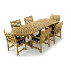 The Montserrat 7 pc Teak Dining Set brings a sense of refinement with an understanding of functional requirements. With the ergonomic backrest and seat of the chairs and the versatility of the extension table, this set will be the center of any family gathering. Guaranteed to last a lifetime, and to create countless memories to share for years to come. The Montserrat-Veranda 7 piece Dining Set features: 1 Montserrat Extension Table, 6 Veranda Dining Chairs