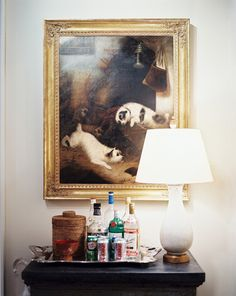 An 18th-century English painting sits above a Swedish chest from the late 1700s in Bunny Williams' design studio.