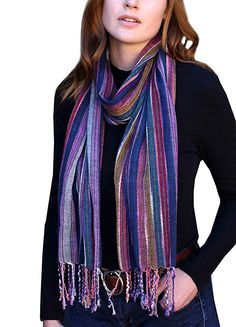 Women s Jewel Shimmer Multicolor Stripe Scarf a6832638c1f7a