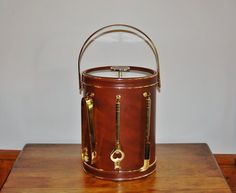 Ice Bucket Bar Tool Set, Mid Century 1970s Brown Leatherette Lucite Insulated Ice Bucket Gold Trim, Retro Barware, Faux Leather Partyware - SOLD! :)
