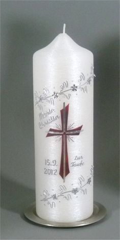 Taufkerzekerze Stumpen silber 1083 Candle Making, Communion, Pillar Candles, Diy And Crafts, How To Make, Inspiration, Decorated Candles, Decorating Candles, Manualidades