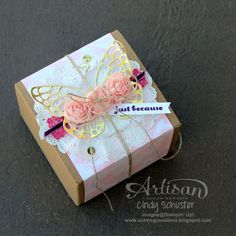 The Butterflies Thinlits Dies and the Artisan Embellishment Kit combined to make a special package! ~ Cindy Schuster