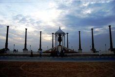 Dusk at Gandhi Statue, Pondicherry India  #ConflictofPinterest