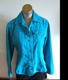 Chico's Teal Cotton Unlined Slightly Fitted Denim Jean Jacket  size 0  #Chicoss #BasicJacket