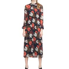 Spring Vintage Women Chiffon Dress Floral Printed Elastic Waist Long Sleeve Pleated Slim Maxi Dress Red