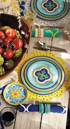 Serve up a brilliant outdoor table setting without worry of breakage.