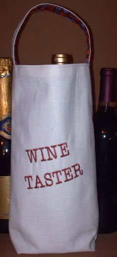 Wine Bag Wine Tote Bottle Holder Hostess Gift  by 5StepsDown, $10.00
