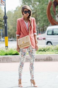 SKINNY JEANS FLOREALI & GIACCA COLOR SALMONE