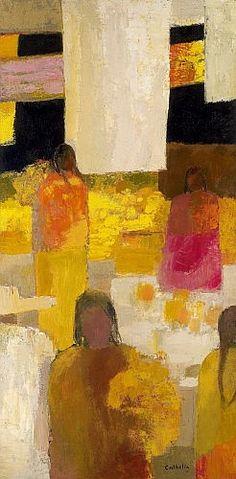 Bernard CATHELIN (1919 - 2004) MARCHE SUR LA PLACE DE PATZCUARO, 1965 Huile sur toile | h: 195 w: 97 cm