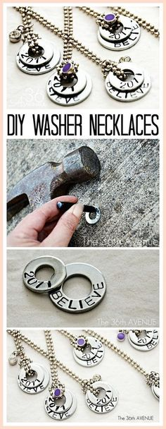 DIY Hand Stamped Washer Necklaces.