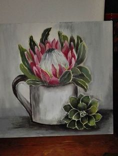 Protea Art, Protea Flower, Pop Art Drawing, Cactus Drawing, Art Drawings, Gouache Painting, Fabric Painting, Cottage Art, Botanical Illustration