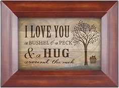I Love You A Bushel & A Peck Wood Finish 4x6 Photo Album with Easel Back - Holds 50 Photos