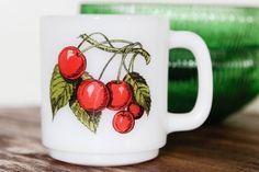 Vintage Glasbake Cherry Fruit Mug  White by SecondsByJaneElaine