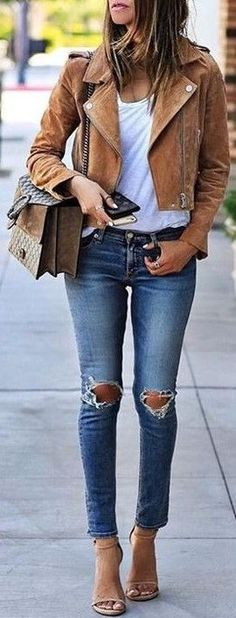 #fall #trending #outfits | Camel Suede Biker + White Tee + Ripped Denim