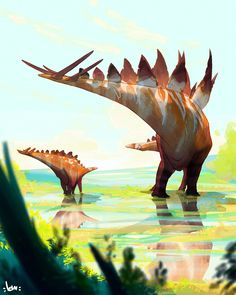 Stegosaurus by Leonardo Mazzoli… Jurassic Park World, Extinct Animals, Dinosaur Art, Prehistoric Creatures, Creature Design, T Rex, Fantasy Creatures, Mammals, Character Art