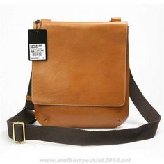 Authentic Mulberry Mens Dan Natural Leather Messenger Bag Light Coffee For Wholesale
