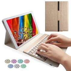 iPad Pro 9.7 Backlit Keyboard Case,Boriyuan Ultrathin Smart Wireless Bluetooth Keyboard and Folio Case for 9.7-inch iPad Pro,Gold
