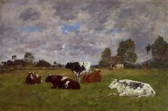 Paintings by Boudin | Cows in a Pasture