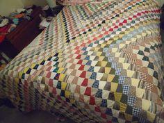 """Vintage Handmade Shot Glass Tumbler Pattern Quilt Full Size Bed 76"""" x 86""""  #handmade"""