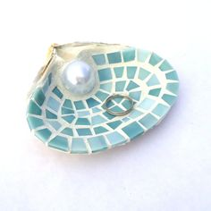 Sea Shell Ring Holder Dish in Blue Mosaic Stained Glass Tile, Engagement or Wedding Gift