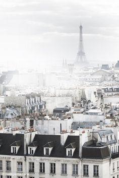 Misty winter day in Paris, France.