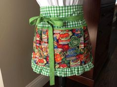 Women's Half Apron with Pockets, Handmade Garden/Farm Print & Green Gingham Ruffle Apron, Craft, Vendor, Utility, Cooking Apron by DarBieStitches on Etsy