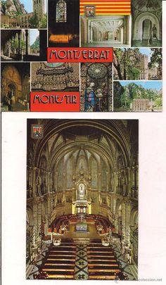 Montserrat. Vistas e interior de La Basilica. Sin circular.