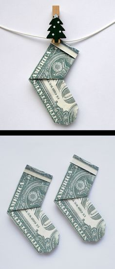 Origami With Dollar Bills, Easy Money Origami, Fold Dollar Bill, Easy Dollar Bill Origami, Origami Money Flowers, Origami Tree, Origami Christmas Tree, Paper Crafts Origami, Money Gifting