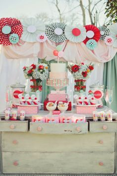 A great little girl birthday party candy bar. Carnival Styled Shoot Wedding Ideas Kemah Boardwalk Events Houston Texas Carnival Event Design Vintage Rentals- these people are so awesome! Wedding Desserts, Wedding Decorations, Wedding Ideas, Wedding Dj, Wedding Cake, Wedding Reception, Paper Decorations, Wedding Blog, Wedding Inspiration