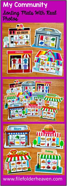 These My Community Sorting Mats w/ Real Photos include 10 unique sorting mats that focus on identifying places in our community and where we buy things.  At an independent workstation, center or language group, students complete the following sorting mats by identifying the things that we buy at each store or shop.  For example, we buy a burger and fries from a fast food restaurant, and we buy flowers from a flower shop.