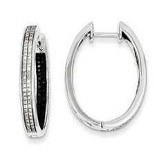 Sterling Silver Inside Out 1/2 Carat Black White Diamond Hoop Earrings Available Exclusively at Gemologica.com