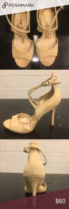 Sam Edelman nude suede high heeled sandals Worn once, but are a little too big for me. Size 5, 3.5in heel. Sam Edelman Shoes Heels